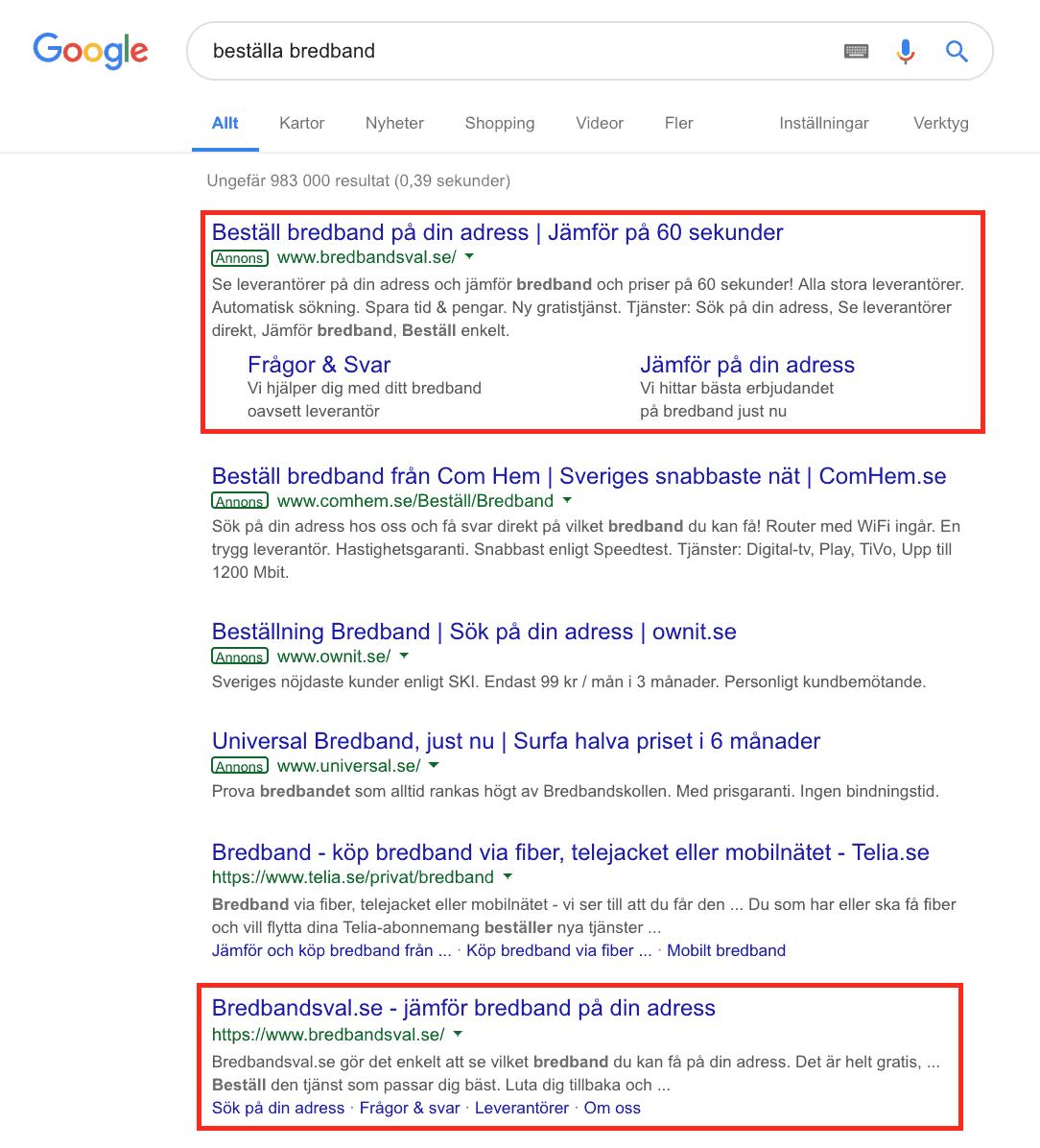 google ads seo organisk sökresultat