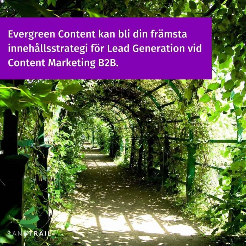 Evergreen Content kan bli din främsta innehållsstrategi för Lead Generation vid Content Marketing B2B.