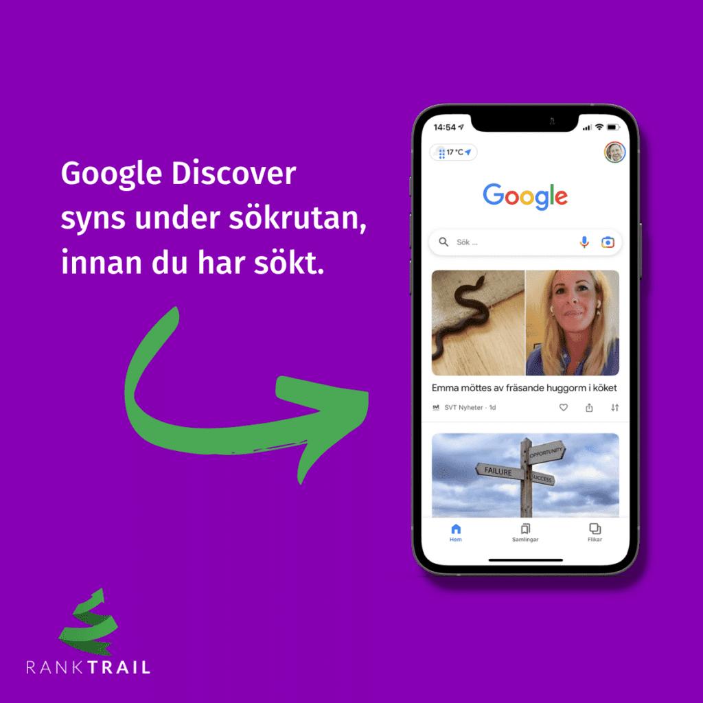 Google Discover finns direkt under sökrutan vid mobilsök.