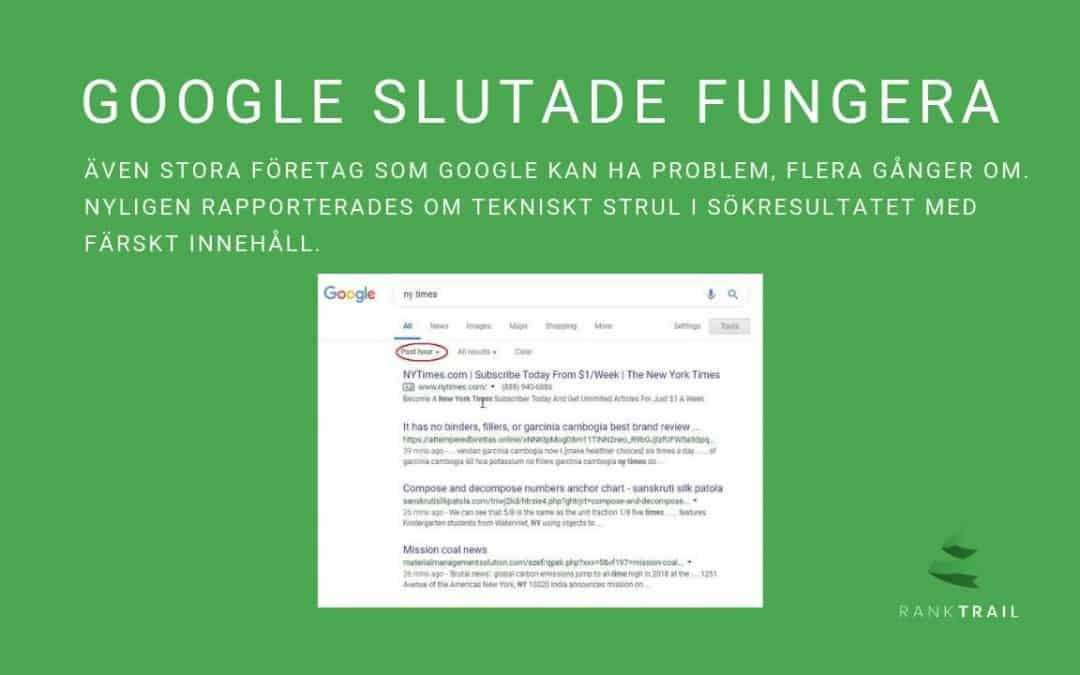 Google's sökresultat slutade fungera