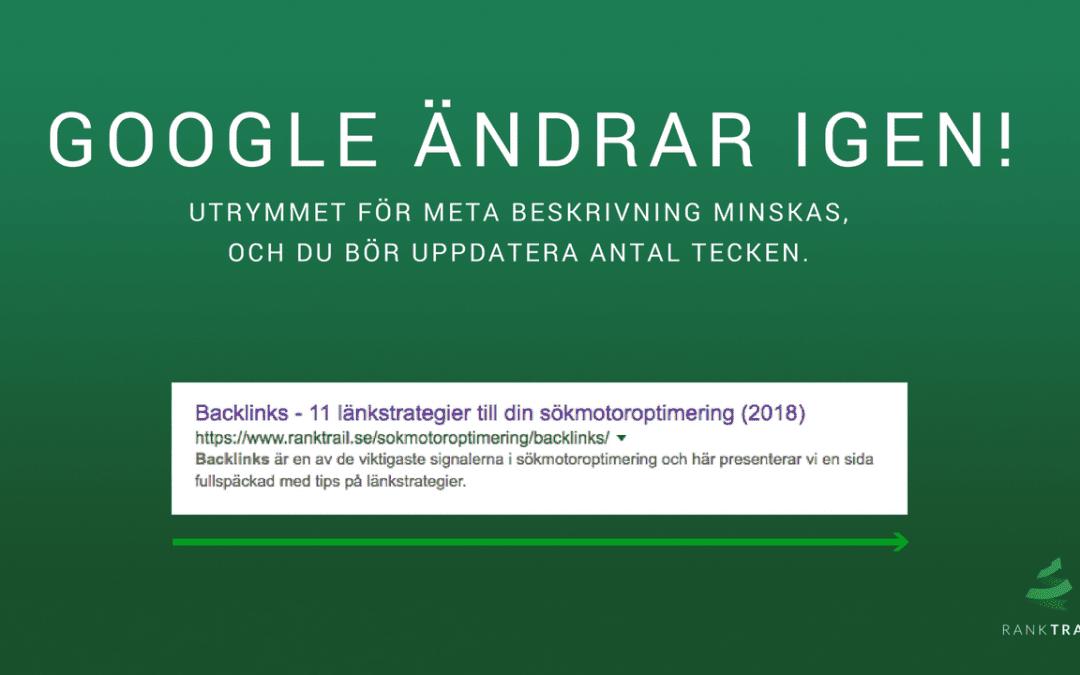 Meta Description ändras igen av Google! (uppdaterad 11/12 2018)
