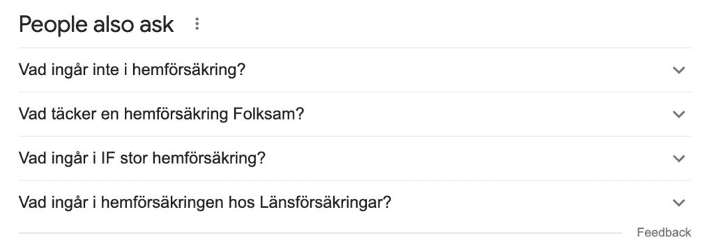 strukturerad data, people also asked, listar vanliga frågor som ställs på google