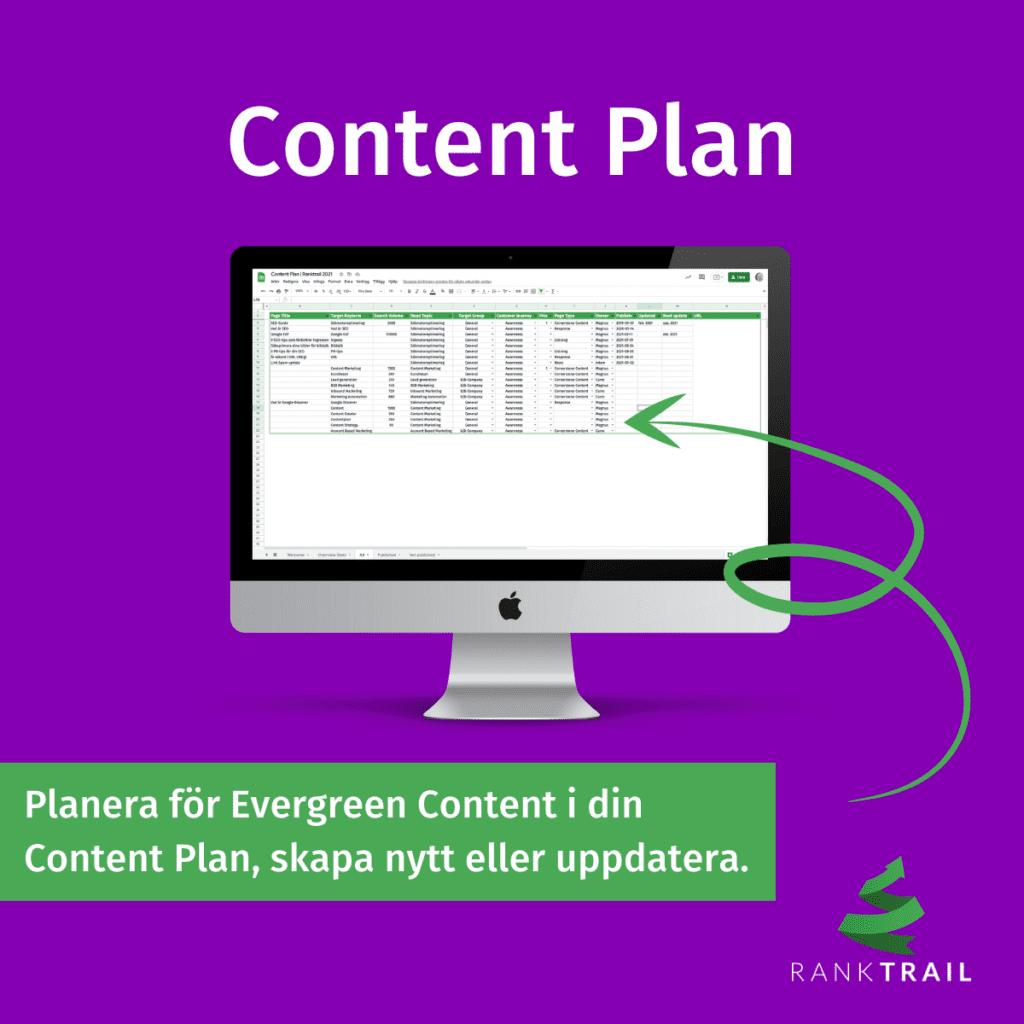 Planera för Evergreen Content i din Content Plan, antingen för att du ska skapa nytt eller uppdatera befintligt innehåll.